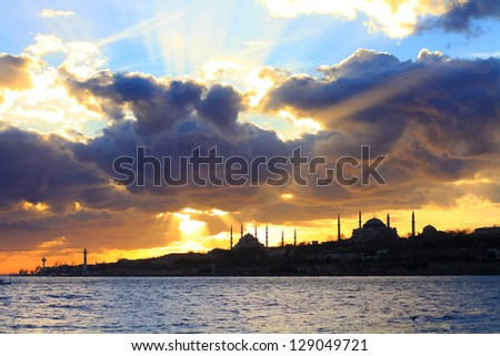 Spring clouds in Istanbul, Turkey - stock photo