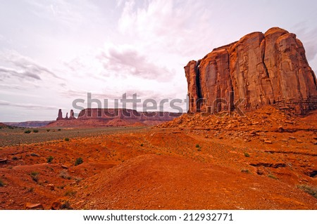 Spring Clouds over Monument Valley in Arizona - stock photo