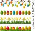 Spring collection with colorful easter eggs - stock photo