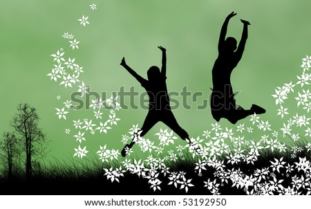 Spring concept illustration. Two silhouettes jumping for joy. Copy-space. - stock photo