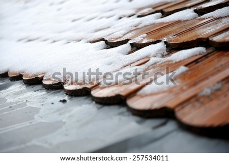 Spring concept shot with snow melting down on a roof tile - stock photo