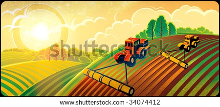 Spring country landscape with two tractors - stock photo