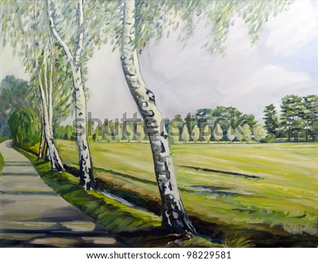 spring country side landscape - original painting oil on canvas - stock photo