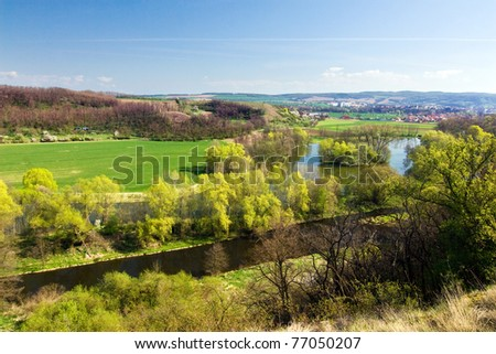 Spring countryside - river, trees, fields and blue sky