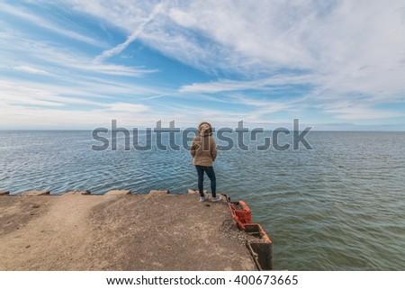 Spring day at lake michigan - stock photo