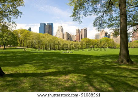 Spring day in Central Park - stock photo
