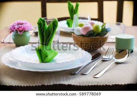 Easter dinner stock images royalty free images vectors spring dinner party decoration en green tone beautiful easter table settings cute bunny shaped negle Images