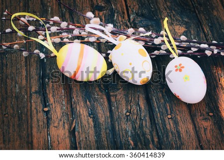 Spring Easter background Easter eggs willow selective soft focus rustic retro style - stock photo