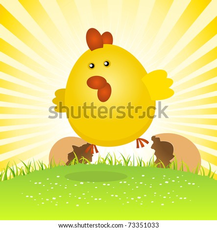 Spring Easter Chick Birth/ Illustration of a tiny spring easter chick birth, jumping from the egg - stock photo