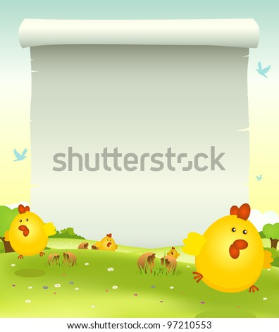 Spring Easter Chicken Background/ Illustration of cartoon happy cute easter chicken jumping in the grass on a spring  landscape background with parchment scroll sign for your message