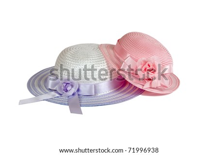 Spring Easter child's hats in pink and orchid - stock photo