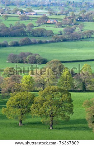 Spring evening view from Alderly Edge hills, near Manchester, Cheshire, UK, typical English landscape - stock photo
