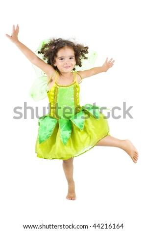 Spring Fairy - Girl with green fairy costume . - stock photo