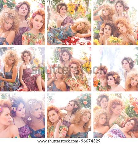 Spring fashion collage - stock photo