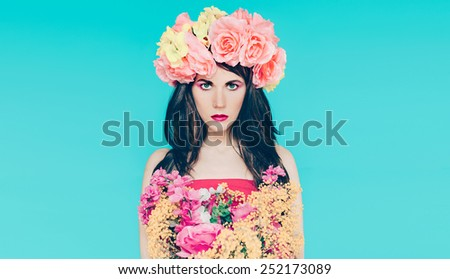 Spring fashion Lady with bouquet of beautiful flowers - March 8 - stock photo