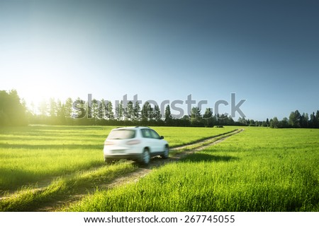 spring field and blurred car on ground road - stock photo