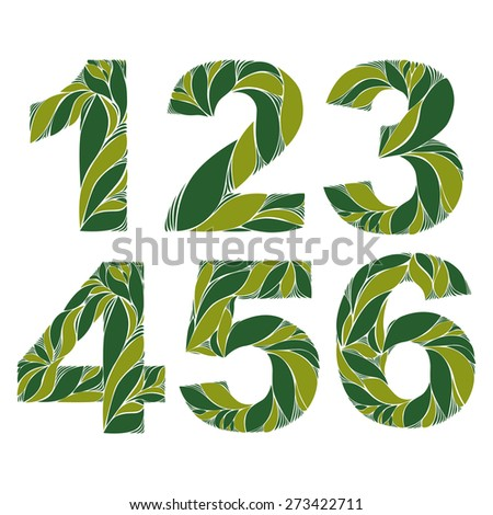 Spring floral numbers, decorative eco style digits with vintage pattern. 1, 2, 3, 4, 5, 6. - stock photo