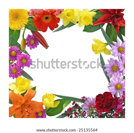 Spring Flower boarder bursting with color - stock photo