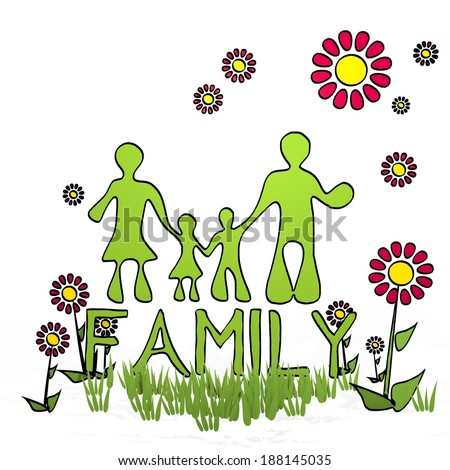 spring flower hand drawn sketch of family with childish flowers on white background - stock photo