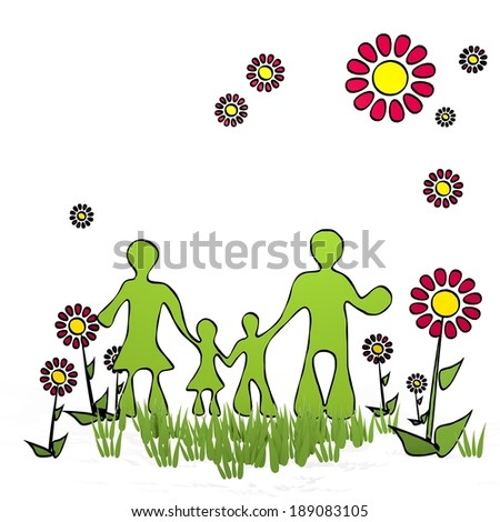 spring flower hand drawn sketch of family with cute flowers on white background - stock photo