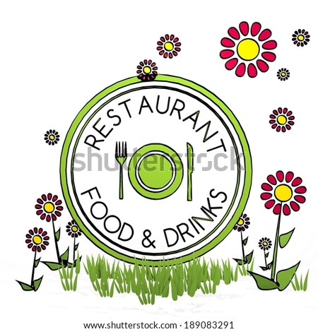 spring flower hand drawn sketch of restaurant with artistic flowers on white background - stock photo