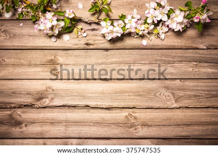 Spring flowering branch on wooden background. Apple blossoms - stock photo