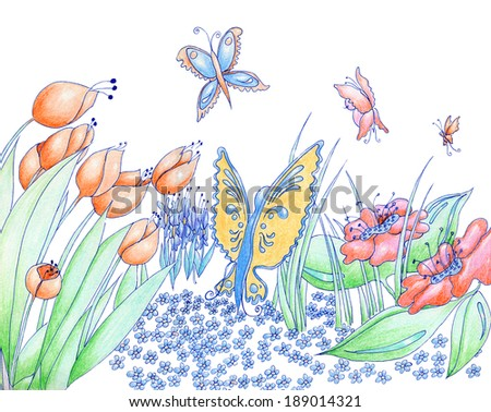 Spring flowers and butterflies hand drawn background pencil and ink isolated on white - stock photo