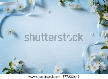Spring flowers background with white blossom - stock photo