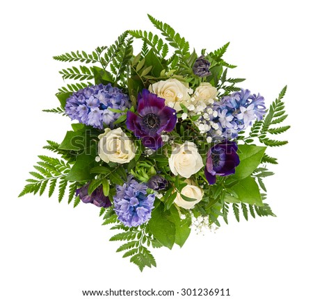 Spring Flowers Bouquet. Roses, Hyacinth, Ranunculus Over White Background - stock photo