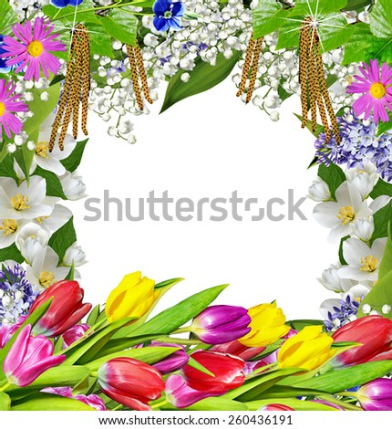Spring flowers. frame - stock photo