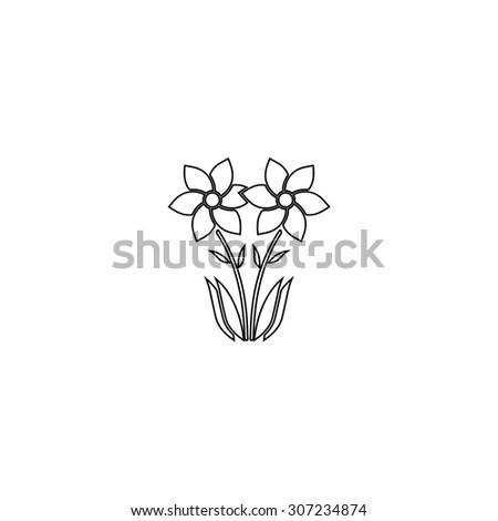 Spring flowers growing outline black simple stock illustration spring flowers growing outline black simple symbol mightylinksfo