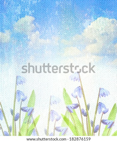 spring flowers grunge blue background vintage abstract rusty colored background - stock photo
