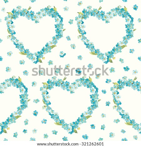 Spring Flowers Heart Background - Seamless Floral Shabby Chic Pattern - stock photo