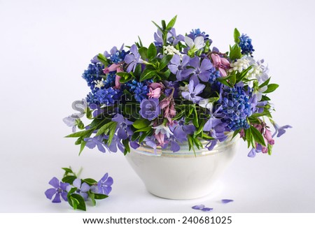 Spring flowers in a pot.