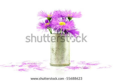 Spring flowers in old vase isolated on white background - stock photo