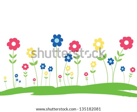 Spring Flowers in the grass - Hand Drawn - stock photo