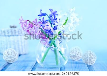 spring flowers in vase - stock photo