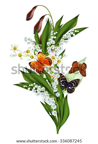 spring flowers  isolated on white background. insects; butterfly; - stock photo
