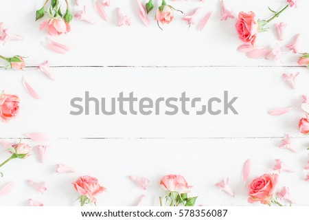 Spring flowers pink flowers on white stock photo royalty free spring flowers pink flowers on white wooden background flat lay top view mightylinksfo