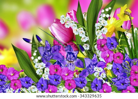 Spring flowers tulips and lilies of the valley - stock photo