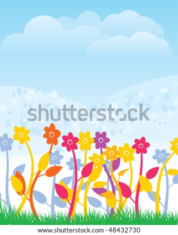 Spring flowers. Vector illustration.