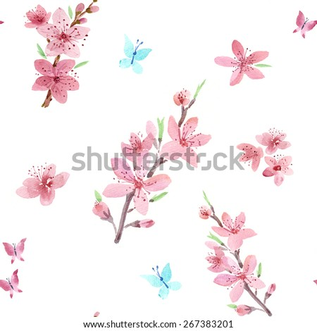 Spring flowers. Watercolour pattern. - stock photo