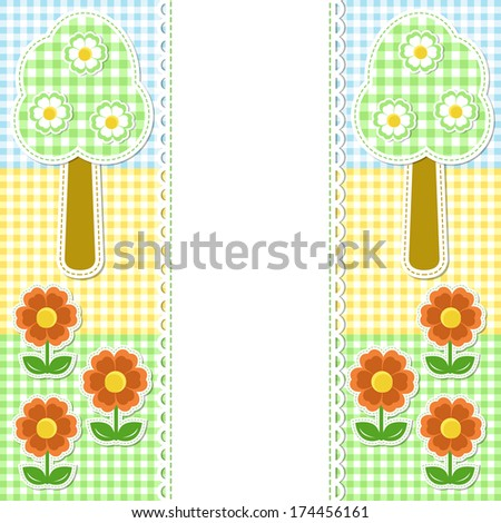 Spring frame with flowers on textile background - stock photo
