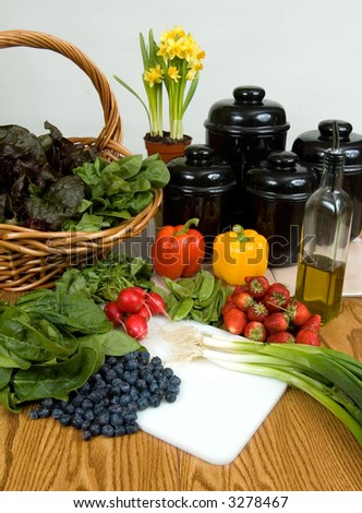 Spring fruits and vegetables - stock photo