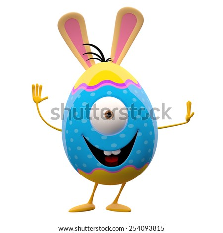 Spring funny bunny icon, playful cheerful 3d character, easter colorful egg  - stock photo
