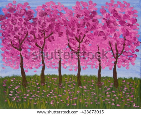 Spring garden in pink colours, oil painting. - stock photo