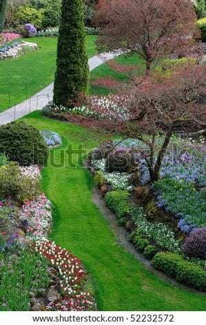 Spring garden in victoria, british columbia, canada - stock photo