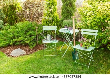 Spring Garden Nook Pastel Green Table Stock Photo (Edit Now)  Shutterstock