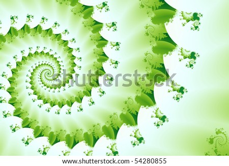 spring green fractal wave curve spiral with white emulates natural leaves