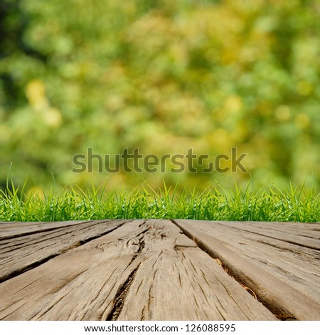 Spring green grass  and sunlight with wood floor - stock photo